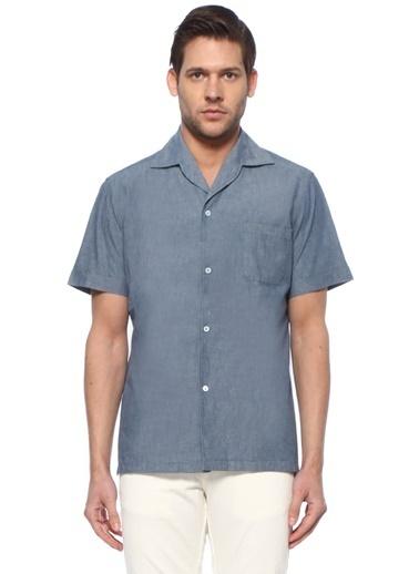 Lardini Lardini  Kamp Yaka Kısa Kol Gömlek 101627508 Mavi